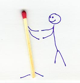 A stick figure finds love with a matchstick.