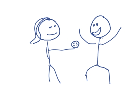 A stick figure gets a little head from his girlfriend.  Literally.